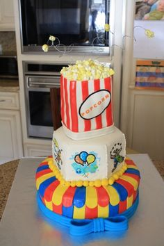 """Very Cute Kids Carnival Cake for that """"Carnival Inspired Birthday Party★☆★        Cake Created by;  www.CakeCentral.com"""