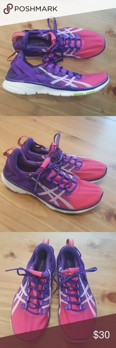 """Asics Gel-fit Sana 2 Like new.   Asics Gel-Fit Sana 2 Grape/Dark Berry/Flash Yellow Width B(M) Nylon Upper Material Man-Made Outsole Material 1"""" Heel Height Asics Shoes Sneakers"""