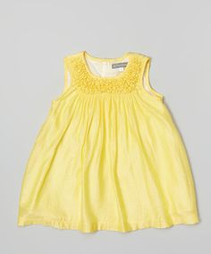 Another great find on #zulily! Yellow Ruched Yoke Dress - Infant, Toddler & Girls #zulilyfinds