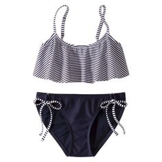 Xhilaration® Junior's 2-Piece Swimsuit -Stripe Print