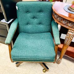 chairs- office, green fabric, swivel.