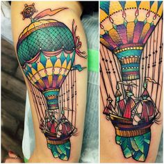 kshocs day two with Liz, hot air balloon with a tiny little ship on the back of the arm. thank you so much for making the trip! #hotairballoontattoo #shiptattoo #rct #raincitytattoo
