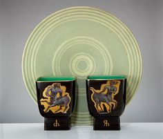 """Artwork by William Manker, 3 Works: Charger and vases 1947, glazed earthenware, Charger: 3"""" x 19.5"""" diameter; Each vase: 8.25"""" x 6.5"""" x 4.75"""". Sold at Los Angeles Modern Auctions 'Modern Art & Design Auction' in 2013."""
