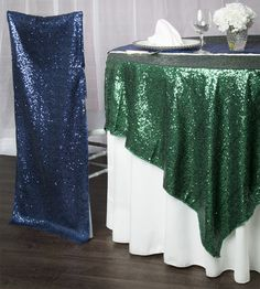 Emerald glitz sequin tablecloths are perfect for a number of parties! Pair with navy & ivory for a classic take for fall, or deck it out with red and gold for a Wizard of Oz party.