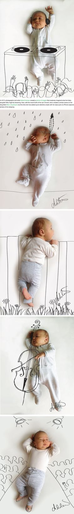 Cute Sketches Imagine What a Baby is Doing While Taking a Nap  잠자는 아기와 일러스트