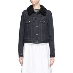 3.1 Phillip Lim Faux fur sherpa collar cropped denim jacket (4 455 SEK) ❤ liked on Polyvore featuring outerwear, jackets, black, victorian jacket, cropped jean jacket, 3.1 phillip lim jacket, 3.1 phillip lim and denim jackets