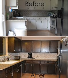 I like the color that they used for the cabinets and back splash. DIY kitchen remodel