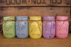 Easter Mason Jars, Ball jars, Painted Mason Jars, Flower Vases, Rustic Wedding Centerpieces, Pastels Green,  Blue, Pink, Purple, Yellow