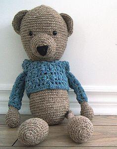 Handmade crochet bear - Gaston - Rustic teddy bear collection  Locally grown 100% wool  http://www.facebook.com/accrochepouce
