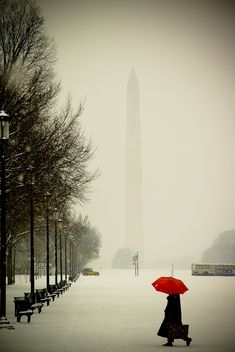Snow at the Washington Monument, Washington, DC