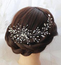 Wedding hair wreath Bridal hair comb Wedding hair piece Silver