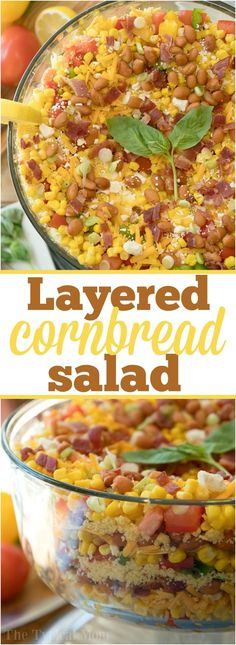 This easy layered cornbread salad recipe is a perfect side dish during the holidays or a barbecue! Layers of corn, cheese and more make it irresistible! AD via The Typical Mom ~ Easy Recipes Family Travel Kids Activities Layered Cornbread Salad, Cornbread Salad Recipes, Bacon Recipes, Lasagna Recipes, Steak Recipes, Turkey Recipes, Potato Recipes, Crockpot Recipes, Chicken Recipes