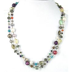 S.#Silver #Gemstone & #Pearl #Necklace http://www.beadthemup.com.au/estore/style/20755.aspx #beads