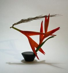 Balancing act-pencil heliconia and dried palm... AWESOME