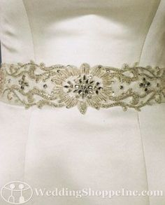 Bel Aire Bridal Sash BT014 satin belt with a scroll design with beading and rhinestones