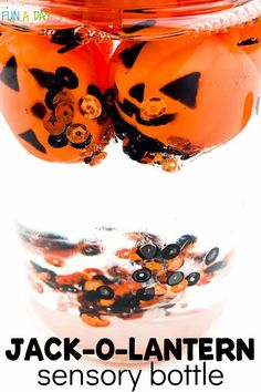 Make a jack-o-lantern Halloween sensory bottle this October. What a calming addition to your Halloween activities for preschoolers! Discovery or sensory bottles can help children explore a variety of early learning concepts. They can also serve as effective tools to help children with self-regulation. Halloween Books For Kids, Halloween Science, Halloween Activities For Kids, Halloween Themes, Early Learning Activities, Sensory Activities, Preschool Lesson Plans, Preschool Themes, Enchanted Learning