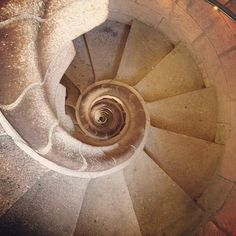 The spiraling stairwell in the Sagrada Familia. Photo courtesy of tweetybeets on Instagram. #howisummer