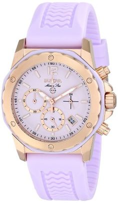 Bulova Women's 98M118 Gold-Tone Stainless Steel Watch with Purple Rubber Band