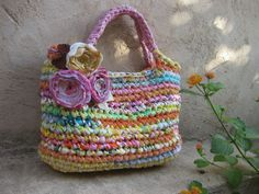 Sorbet colors  Fabric Crocheted Rag bag  Made to order by odpaam, $59.00 if this had some pockets it would be such a cute unique diaper bag @Hollie Baker A L E Y |  V A N  |  L I E W Bricker