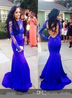 Royal Blue High Neck Prom Dresses With Lace Bateau Long Sleeves Open Back Party Gowns Mermaid Floor Length Special Occasion Evening Gowns Cheap Prom Dresses Uk Cheap Prom Dresses Under 100 From Olisha, $114.98| Dhgate.Com