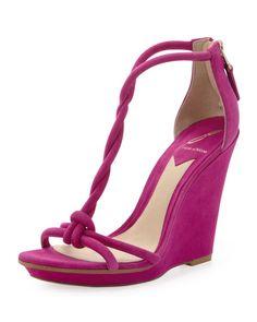 B Brian Atwood - Pricilla Wedge Sandal, Fuchsia