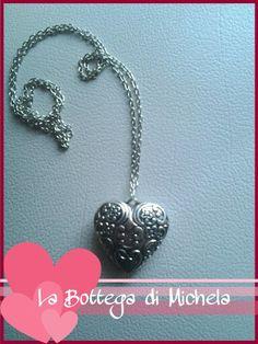Collana lunga argento con ciondolo cuore lavorato