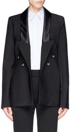 Ellery 'Christen' Silk Satin Trim Cutout Back Jacket in Black
