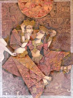 Royal Couple by Dhiren Sasmal Modern Indian Art, Indian Folk Art, Indian Artist, Kalamkari Painting, Silk Painting, Figure Painting, Pichwai Paintings, Indian Art Paintings, Indian Artwork