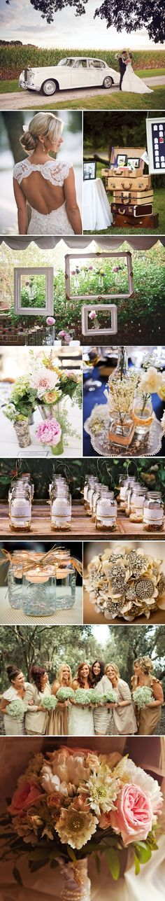 vintage wedding decor... Repinning because I do like some of these details. And we are definitely doing the vintage car!!