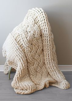 Chunky Double Cable Crochet Blanket / Rug (blanket007) by Erin Black  - crocheted using multiple strands of acrylic yarn to create a modern over-sized blanket or rug.