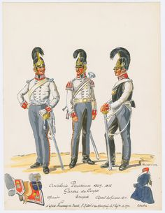 Prussia;Garde du Corps 1809-15- Officer, Trumpeter & Corporal.