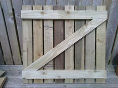 Wooden Garden Gate Flattop Sidegate Hand Made 850mm High 900mm Width Tanalised