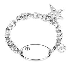 Star Charm Medical Personalized Womens Bracelet