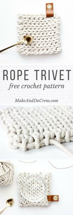 This free crochet trivet pattern uses rope clothesline to create a super modern, West-Elm-worthy DIY hostess gift. Add a leather accent and it's perfection!