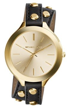 MICHAEL Michael Kors Michael Kors 'Slim Runway' Double Wrap Leather Strap Watch, 42mm available at #Nordstrom