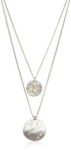 "AmazonSmile: Kenneth Cole New York Two-Row Worn Hammered Circle Pendant Necklace, 19"", $37"