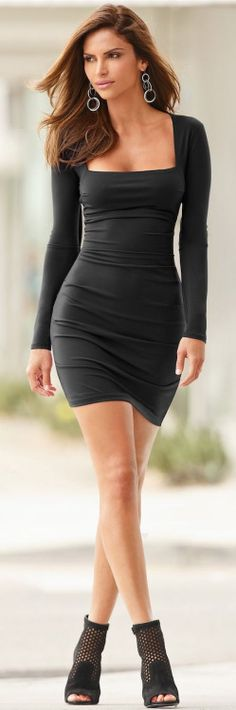 Black Sexy Long Sleeve Bodycon Dress with Ankle He...
