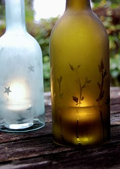 Recycled Wine Bottles - Candle Holder