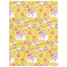 Cute Pink Unicorns and Floral Pattern Fleece Blanket