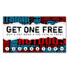 get one free HOT DOG Business Card by identica . loyalty business cards . punch and stamp cards