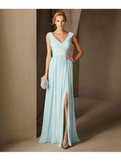 Affordable Long Blue Chiffon Prom Evening Bridesmaid Dresses 2103001