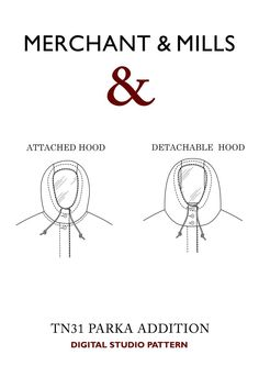TN31 Parka Hood Addition PDF - Merchant & Mills Merchant And Mills, Sewing For Beginners, Fashion Books, Digital Pattern, Quilt Making, Dressmaking, Sewing Patterns, Self, Embroidery