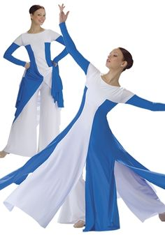 liturgical dancewear | 630 Asymmetrical Bell Sleeve Praise Dance Dress