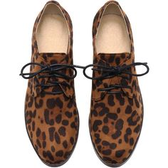 SheIn(sheinside) Leopard Casual Shoelace PU Flats (2.130 RUB) ❤ liked on Polyvore featuring shoes, flats, oxfords, обувь, leopard flat shoes, multi colored shoes, almond toe flats, flat pumps and leopard oxford shoes