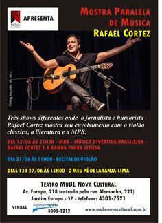 """Rafael Cortez, estará na Mostra Paralela de Música, mostrando seu envolvimento com violão, literatura e MPB. Conheça o audiolivro """"O Meu pé de laranja lima"""" e outros  títulos narrados por Rafael, no site da Livro Falante. Acesse:http://www.livrofalante.com.br/novo/infanto-juvenis/o-meu-pe-de-laranja-lima-download.html e escute trecho!"""
