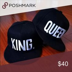 King &queen hat set RESTOCK avail soon🍂will be 20 New black w white writing. These would make a great gift🍁 very cute and popular. Will be available soon🍁 The price will be 20for both of them🎁 if you are interested I will reserve for you🎁 Accessories Hats