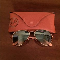 Rayban Sunglasses Aviator Small Blue Lightly used, in great condition sunglasses. They are a light blue color but you cant really tell from the picture. Comes with the case also. Rayban Accessories Glasses