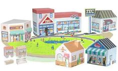 Kids town building papercraft === working link 31/10/13, http://www.toshibatec.co.jp/tecfiles/special/kids/list.htm. first  2 columns are shops and restaurants, last column is shop scenes, fountain, food carts and escalator