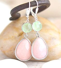 Soft Peach and Mint Bridesmaids Earrings. Wedding Jewelry. Bridal Party Gift.
