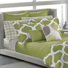 Bedroom Sheets and Duvet - Green, White, and Grey.
